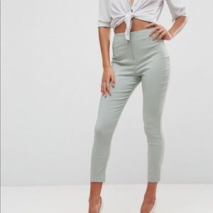 Sage/mint colored cigarette slim pants